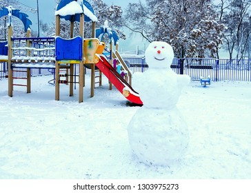 Snowman on the playground