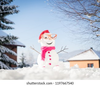 Snowman on snow background