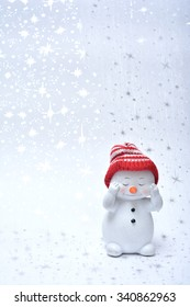 Snowman on the white background