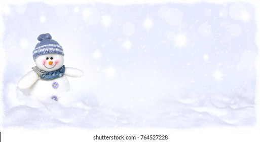 Snowman on white background with snow fall and twinkle star dust