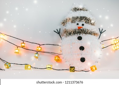 Snowman and Ornament Christmaa tree items decorate for the silent night. Merry xmas and Happy new year.