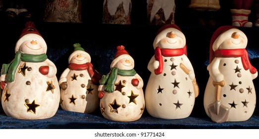 Snowman ornaments at traditional Christmas Market, Weihnachtsmarkt, in the city of Salzburg, Austria