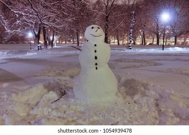 Snowman in a park in Oslo