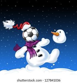 A snowman playing football