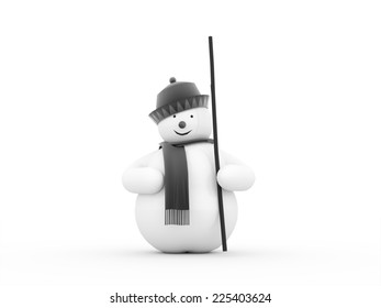 Snowman rendered isolated on white background