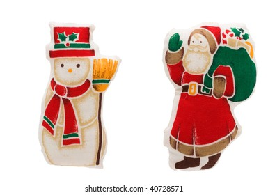 A snowman and santa claus isolated on a white background, snowman