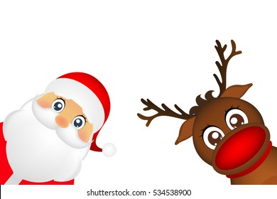 Snowman and Santa Claus look out the side on a white background .