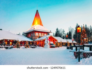 Snowman at Santa Office of Santa Claus Village in Rovaniemi in Lapland in Finland.