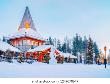 Snowman at Santa Office in Santa Claus Village in Rovaniemi in Lapland in Finland.