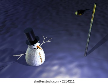 snowman under street lamp