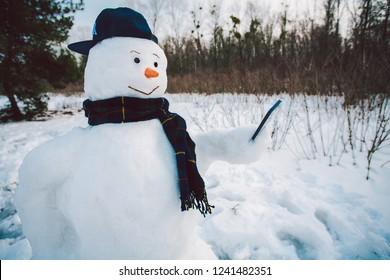 Snowman using smart phone