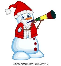 Snowman wearing a Santa Claus costume blowing horns