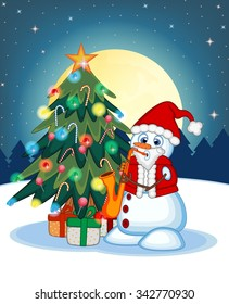 Snowman Wearing A Santa Claus Costume Playing Saxophone With Christmas Tree And Full Moon At Night Background For Your Design Illustration