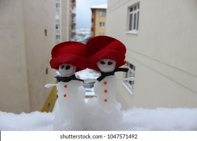 snowman in winter.snow concept for Christmas.