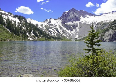 Snowmass Lake and flanks of Snowmass Mountain, Colorado 14er, Rocky Mountains