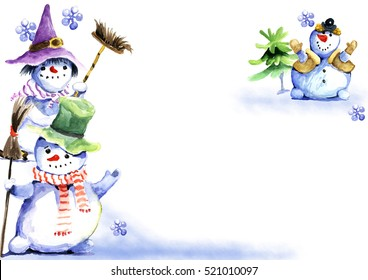 snowmen, New Year, Christmas, watercolor drawing, card, pattern