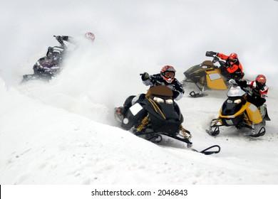 snowmobile action from kirkland lake ontario