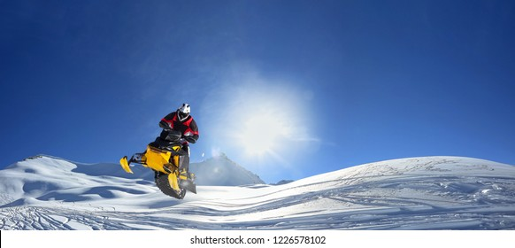 snowmobile in the alps