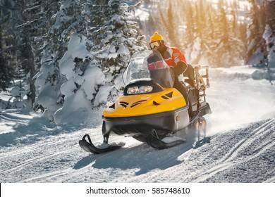 snowmobile driving