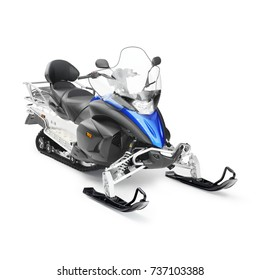 Snowmobile Isolated on White. All-Terrain Vehicle. Modern Snow-Vehicle with Front Skis. Snow Machine with Four-Stroke Internal Combustion Engine