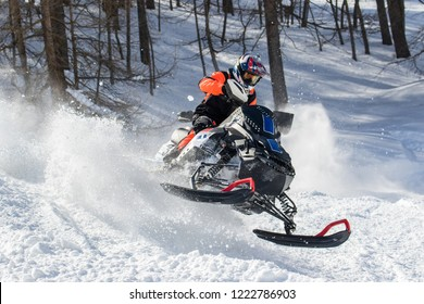 snowmobile in skid