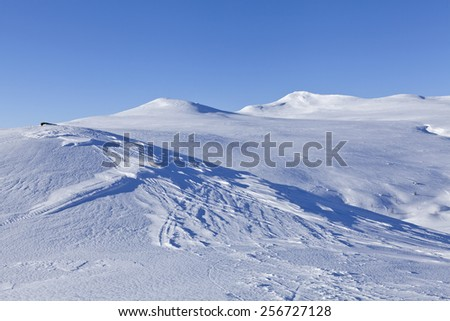 Snowmobile Tracks Scandinavian Nordic Mountains Trail Stock Photo