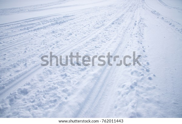 Snowmobile Tracks White Snow Mountains Background Stock Photo (Edit