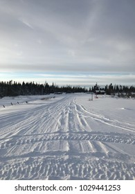 Snowmobile trail in winter in Labrador