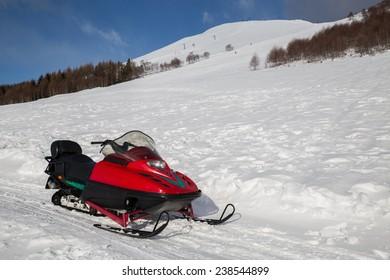 snowmobile in winter mountain