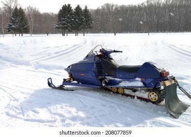 A snowmobile in winter season.
