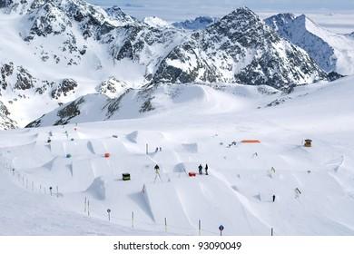 Snowpark, glacier ski resort Stubai, Austria
