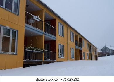 Snows outside the apartment block - Kongsvinger, Norway