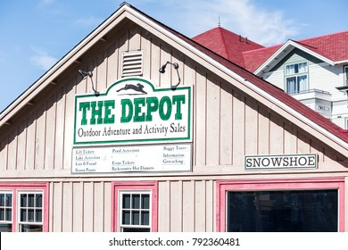 Snowshoe, USA - October 18, 2017: Sign for Depot store for outdoor adventure, activity sales, lift tickets, season passes in famous resort town village in West Virginia, WV