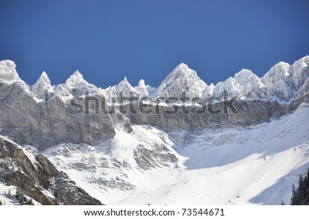 snowslide elm region switzerland stock photo edit now 73544671
