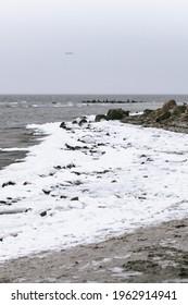 snowstorm at beach in denmark