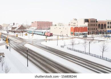 A snowstorm passes thru fargo, North dakota in winter.