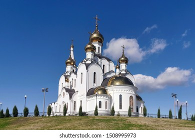 Snow-white Church in the maiden monastery. Orthodoxy in Russia.