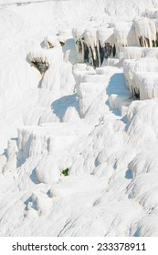 snow-white face of the mountain in Pamukkale, Turkey