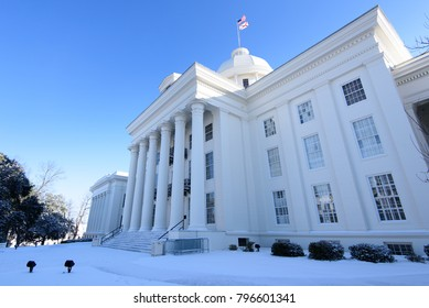 Snowy Alabama State Capitol building in Montgomery