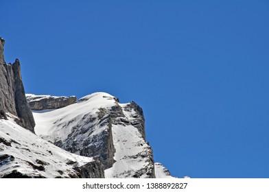 Snowy alpine Peak with Deep blue sky