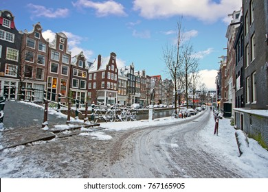 Snowy Amsterdam in the Netherlands in winter