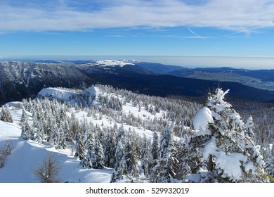 Snowy backdrop of mountains on the plateau of Asiago, Vicenza - Italy