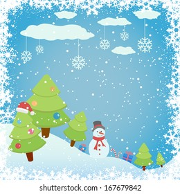 Snowy background with Christmas tree and snowman, illustration.