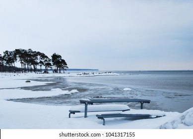 Snowy bay of the Baltic Sea at the Swedish island Oland by winter season