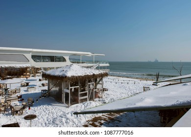 Snowy beach restaurant in Varna, Bulgaria