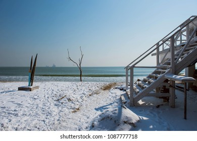 Snowy beach in Varna, Bulgaria