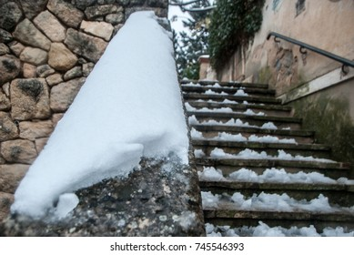 Snowy bridge, town