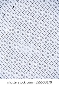 Snowy chain link fence