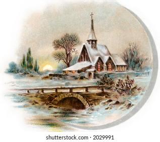 Snowy Chapel Scene, like ''Currier & Ives'' - circa 1890 vintage illustration.
