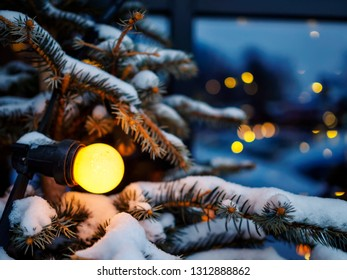 Snowy christmas tree lights, shallow depth of field
